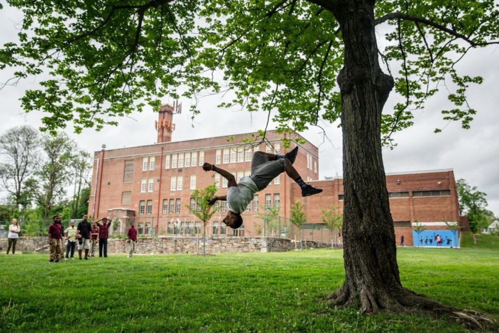 Man doing a flip under tree with brick building in background