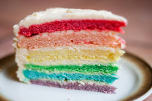 Photo of cake with rainbow colored layers